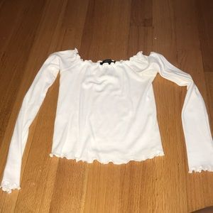 White off the shoulder long sleeve shirt
